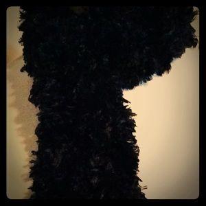 Handmade, Black Fuzzy Scarf, very Long